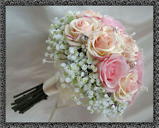 WEDDING POSY BOUQUET  REAL TOUCH ROSES, Shades of babypink with gyp and diamante