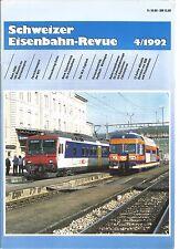 SCHWEIZER EISENBAHN REVUE 04-92 ZWISCHENWAGEN DER NPZ / VERSUCHSRING VELIM / BLS
