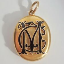 Fine Victorian 15ct Gold & Enamel Monogram Mourning Locket Pendant c1885