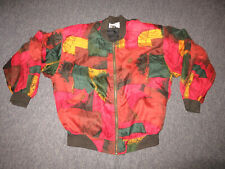 Vintage Goouch Abstract Print Silk Bomber Jacket Lined Nwt Mens Medium