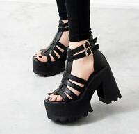 Womens Gladiator Punk Vogue Chunky Heels Platform Buckles Open Toe Sandals Shoes