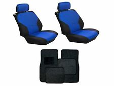 Blue & Black Seat Covers with Black Carpet floor Mats for Cars SUVS- 8pc.Combo
