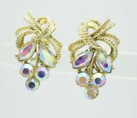 VTG CORO Gold Tone Clear Purple AB Rhinestone Flower Leaf Clip Earrings