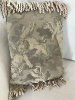 Laura Ashley Rectangular High Quality Jacquard Angels Cushion Pillow - Sage