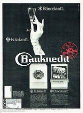 PUBLICITE ADVERTISING 115  1966  le lave-vaiselle machine à laver Bauknecht