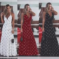 S-XL Womens Boho Polka Dot Long Maxi Dress Evening Party Summer Beach Sundress