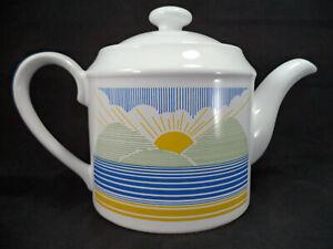 Vintage Teapot Kilncraft Coloroll 1980s Sunrise Pattern Staffordshire Pottery