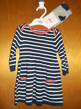 M&S 100%Cotton Knitted L/Sleeved Striped Dress & Tights 0-3m 62cm Navy Mix BNWT