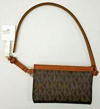 NEW - Michael Kors Signature MK Leather Fanny Pack Belt Bag Sz Lg Brown
