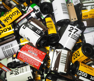 40 Empty Assorted 35mm film canisters Fuji, Kodak & more, use for reloading b&W