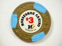 Vintage Horseshoe Casino obsolete CHIP Gardena CA $3 Olive /Blue great condition