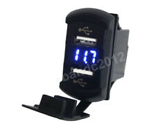 Blue Duel USB ports Socket&voltmeter for ARB Carling switch standard size cutout