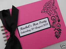 HEN NIGHT / PARTY / WEDDING GUEST BOOK FUCHSIA PINK & BLACK PERSONALISED