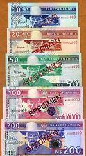 Specimen Set Namibia 10;20;50;100;200 Dollars (1996-2010) P-4s-6s-8s-9As-10s UNC