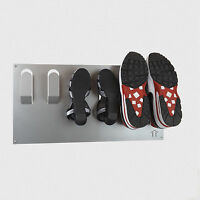 Wall Mounted 3 Shoe Storage Rack in Metallic Silver by The Metal House
