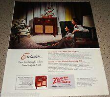 1948 ZENITH Hepplewhite Console Antique Radio Phonograph AD Original Advertising