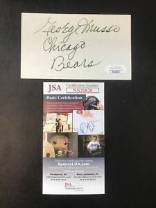 """George Musso NFL Signed Index Card 3x5 JSA Certified Autograph """"Chicago Bears"""""""