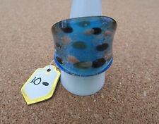 Un argento/blu con Light & MACCHIE SCURE IN RAME STILE DI MURANO GLASS RING. UK-R. (10)