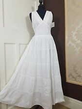 White Summer Sleeveless Boho Maxi Dress V Neckline Self Embossed Lined Cotton