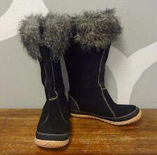 SOREL Black Felted Wool COZY CATE Faux Fur Waterproof Calf Boots - 11