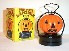 VINTAGE 1950's BATTERY OPERATED PUMPKIN JACK-O-LANTERN HALLOWEEN LAMP MINT MIB