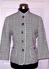 Peck & Peck Suit Jacket Sz 4 Brown White Linen Mandarin Collar Dress Casual S