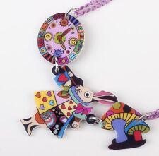 Alice In Wonderland Necklace Acrylic Pendant Colorful Rabbit Free Postage