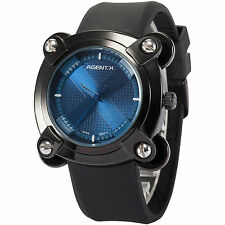 Agentx Fashion Mens Blue Dial Quartz Analog Silicone Sport Wrist Stylish Watch