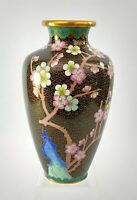 "Black Cloisonne Vase 7.5"" Branch of Cherry Blossoms w Bluebird Made In China"