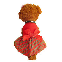 Puppy Plaid Bow Apparel Red Dress Clothes Pet Supply Dog Skirt Christmas Party
