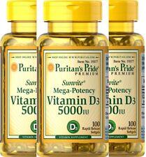 3X Puritan's Pride Mega Potency Vitamin D3 (5000) IU (300) Softgels Total