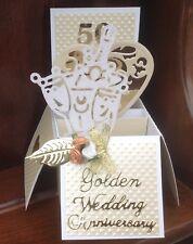 Beautiful handmade Golden  Wedding Anniversary 50 years pop up card