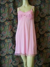Vintage Pink Nylon Tricot Mini Empire Slip Nighty Lingerie 32