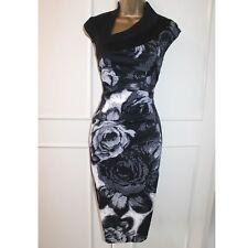 ba45180b250 Karen Millen Black Multi Floral Print Cocktail Races Party Pencil Dress 12  UK 40