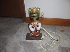 Vintage Electric Lamp Owl Motif Wood Base Hand Painted