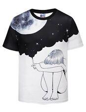 Drunk Moon T-Shirt   printed space smoking drinking dreams stars universe print