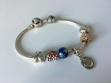 925 Sterling Silver Spring Daisy Snake Charm Bracelet With 7 Charms
