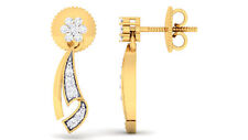 0.38 Cts Round Brilliant Cut Natural Diamonds Stud Earrings In Hallmark 14K Gold