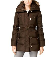 Michael Kors Mid-length Down Coat with Zip-out Fur Hood