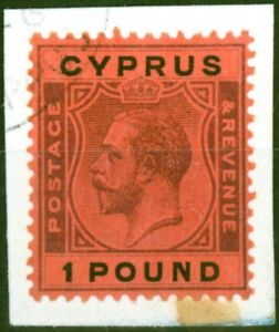 Cyprus 1924 £1 Purple & Black-Red SG102 Superb Neatly Used on Small Piece