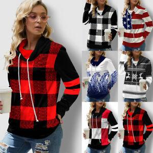 Womens Ladies Plaid Casual Loose Blouse Sweatshirt Hoodies Sweater Hooded Tops