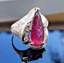 Chic Vintage Fashion Large Hot Pink Pear Tourmaline Diamond 14k white gold ring