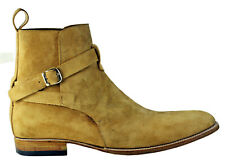 Men Latest Simple Jodhpur Real Suede Boots with Strap Buckle, bottes hommes