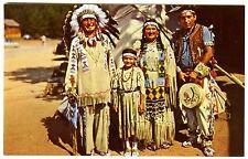 CHIEF RUNNING HORSE & INDIAN FAMILY in FULL DRESS~ORIGINAL 1950s UNUSED POSTCARD