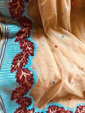 Embroidered Sequins-Skin/Blue Net Saree Party Wedding Designer #silk #pattu