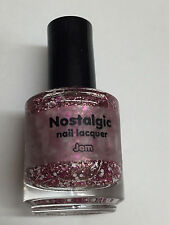 NOSTALGIC NAIL LACQUER POLISH JEM PINK AND WHITE GLITTER  INDIE PINK