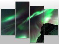 AURORA BOREALIS NORTHERN LIGHTS LARGE SPLIT PANEL 4 PANEL CANVAS WALL ART IMAGE