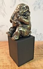 Contemporary Polished Bronze Figurine ~ Elephant Mother & Baby Ornament  59781