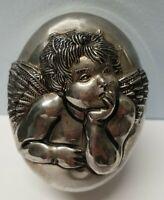 Vintage GODINGER Cherub/Angel Silver Plated OVAL Jewelry/Trinket Box