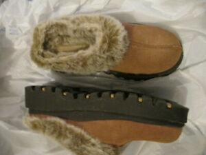 womens fur lined leather skechers clogs tan 6